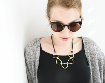 Gold and black geometric necklace, Abstract necklace, Triangle necklace, Statement necklace, Urban necklace, Short necklace