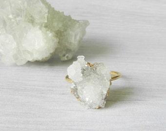 Druzy ring - Gold dipped - Crystal drusy quartz - Spirit druzy quartz - Cactus druzy earrings - White druzy