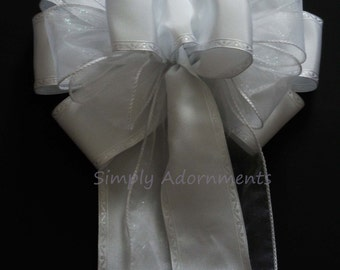 White Wedding Pew Bow White Pew Bow Church Aisle Decoration Bow White Wedding Aisle Decoration Bridal Shower Bow Wedding Chair Bow Gifts Bow