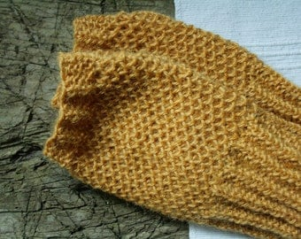 Hand knit fingerless gloves, mustard wrist warmers, alpaca wrist spats, knitted mitts, READY TO SHIP