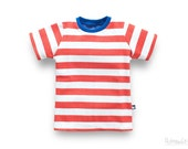 toddler boy shirt, red white striped, made of 100% organic cotton (GOTS), red stripe summer top boy, kids summer tee, made in Germany