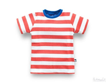 toddler t shirts, toddler boy shirt, organic boys shirts, striped jersey knit T-shirt, boys tee, red white striped shirt,100% organic cotton