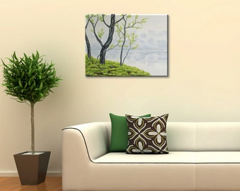 Original Landscape Painting of Spring Green Trees and Lake, Spring Art, Acrylic Nature Art on Canvas, Gray and Green 18 X 24