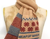 Wrap Up Warm Fair Isle Scarf - Shetland Lambswool Scarf Traditional Pattern with Fun Wording - Pollypurl