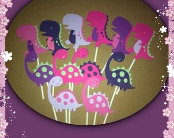 24 Girly Dinosaur Cupcake Toppers, Dinosaur Birthday Theme, Dinosaur baby shower, Dinosaur Party Decorations