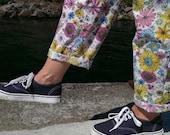 Pajama Pants, Pink Pajama Pants,38 EU 8-10 US, Wide Leg Lounge Pants, Pajamas, pjs, PJ Pants,Floral Pants, Summer Pants, Lounge Cotton Pants