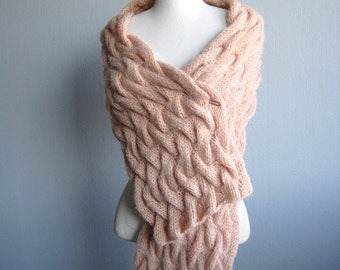Cable Knit Scarf, Wool Scarf, The Twisted Stitch Scarf, Oversized Scarf, Pink Scarf, Pink Wrap, Knit Scarf Aran, Mothers Day Gift, For Her