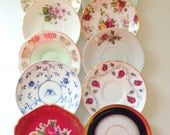 Vintage Medley Mismatched Tea Cup Saucers Set of 10 Tea Party Wall Display Bridal Shower Favors Instant Collection Bachelorette Gifts