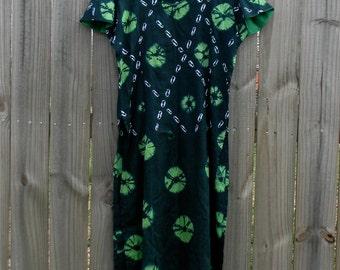 S M Small Medium Vintage Green Hippie Festival Boho Ethnic Batik Tie Dye Spring Summer Cotton Tunic Shift Dress Shirt Cover Up