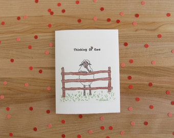 Thinking Of Ewe - birthday, friend, hello card - white or black sheep (also available as Thinking Of You)