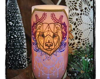 Anima Spirit Bear Embroidered Candle Wrap For LED Flameless Pillar Candles. With Hand Colored Highlights.