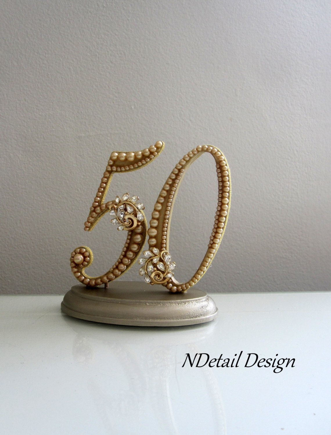 Golden 50th Anniversary Cake Topper in Gold Silk by ...