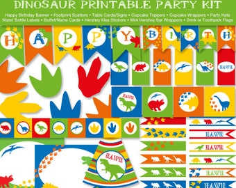 Dinosaur Printable Party Kit, Happy Birthday, Instant Download