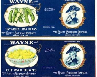 WAYNE! Vintage 2 Embossed Vegetable Labels, Gilded Details, Lima Beans&Cut Wax Beans, Revolutionary War, Great Gift for Your Wayne