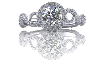 Half Carat Round Octopus Diamond Engagement Ring with Halo and Diamond Accents