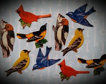 12 Vintage Dennison Birds Gummed Seals | Unused