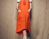 tunic dress in orange, linen dress,linen shirt dress,boho dress,orange dress,long linen dress,summer dress,prom dress, mini dress, plus size