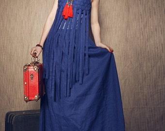 Linen Weaving Dress/ Formal Dress Gown/ Bridesmaid Sundress - Made To Order