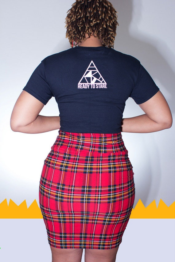 This Stretchy PLUS SIZE PINK with thick Black and thinner Black and Red stripes Plaid Tartan pleated schoolgirl skirt is made from the finest stretch Lycra. waistband of the skirt to sit. waistband of.