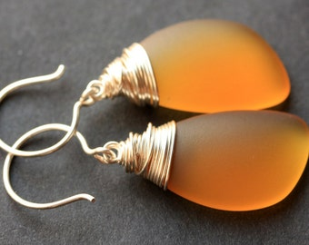 Amber Seaglass Earrings. Amber Earrings. Amber Sea Glass Earrings. Wire Wrapped Wing Earrings. Handmade Jewelry.