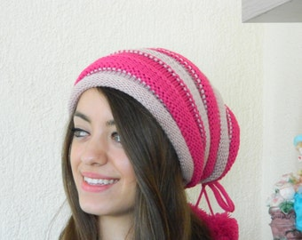 Knit Slouchy Beehive Hat - Knit Hipster Hat -women hat,Slouchy Hipster Hat - Knit Women's,striped fuchsia and pink Slouchy Hat -