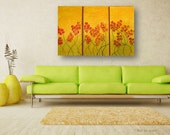 2x3 feet triptych tryptych Abstract Painting wild frolicking Flowers Contemporary Fine Art