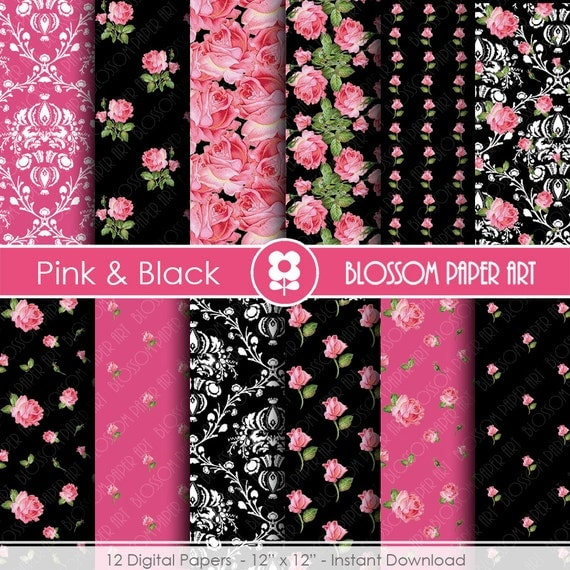 Pink and black papers digital paper pack scrapbooking floral - Papeles decorativos para pared ...