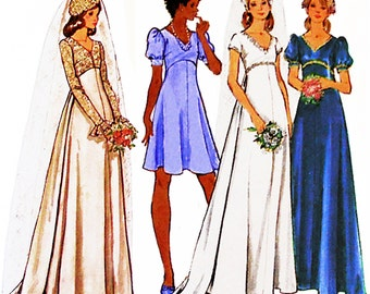 "1974 Vintage  A-Line Bridal Gown with Train Option, Lace or Short Sleeves, Bridesmaid Dress in 2 Lengths, Butterick 3163, Bust 34"", Uncut,"