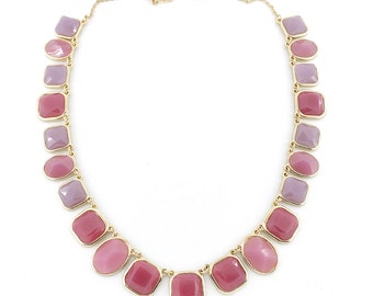 Gorgeous Gold-tone Faceted Pink Oval and Square Stones Statement Necklace,L2