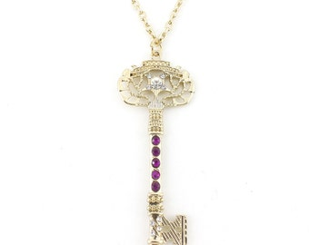 Bright Gold tone Crystal Decorated Key Pendant Necklace,Q2