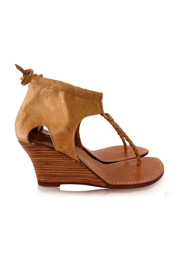 APHRODITE. Leather wedges / leather high heels / sandals / thong sandals. Sizes: US 4-13, EUR 35-43. Available in different leather colors.