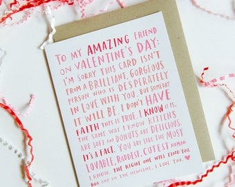 Valentine For My Amazing Single Friend / Friend Valentine Card, Funny Friend Valentine No. 188-C