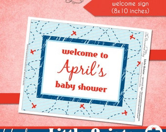 Little Aviator CUSTOM Welcome Sign • PRINTABLE • Baby Shower • by The Occasional Day
