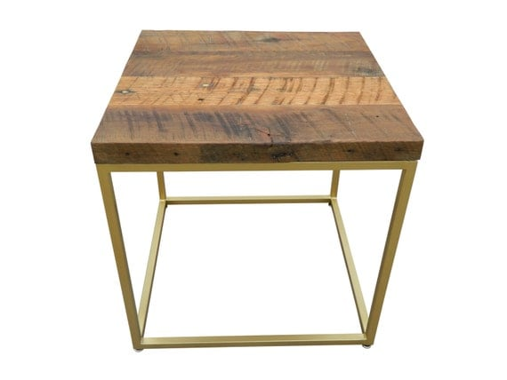 Gold side table with reclaimed wood surface by phweld on etsy