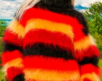 Thick and fuzzy hand knitted multicolor striped mohair sweater by SuperTanya