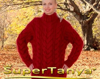 Thick red hand knitted mohair sweater with cables by SuperTanya