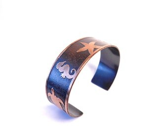 Sea Life Jewelry, Star Fish, Sea Horses, Sea Turtle, Etched Bracelet, Cuff Bracelet, Beach Life, Copper Jewelry, Gift for her, Ready to Ship