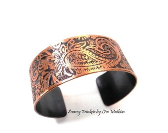 Paisley Bracelet, Paisley Jewelry, Paisley Cuff, Wide Cuff Bracelet, Copper Bracelet, Handmade Jewelry, Ready to Ship, Unique Gift for Mom