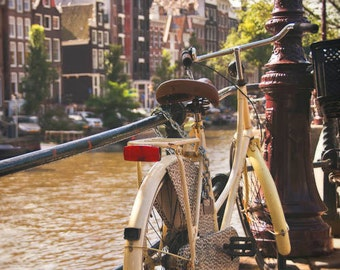 Amsterdam photo, Bicycle, streetscene, cityscape, travel, romantic, whimsical, Canal, Dutch, Holland, Architecture, for her