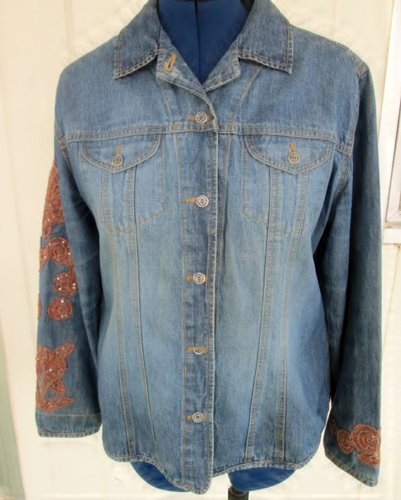 chico s blue denim embellished jacket size 2 medium floral