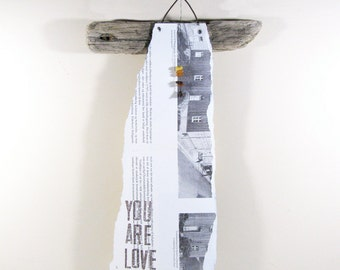 Angel Wall Art Driftwood and Wire You are Love Spirituel Art