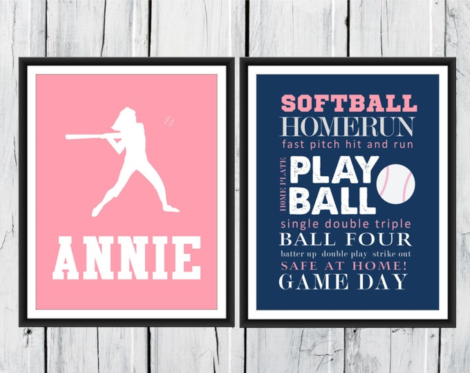 Softball Word Art Print 2 Piece Set-  Custom Colors and Sizes - Sports Decor CANVAS AVAILABLE