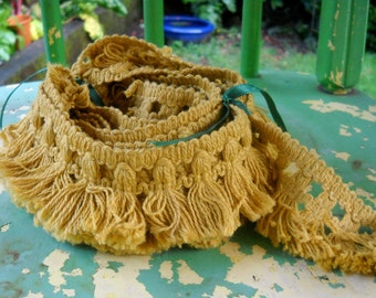 Vintage Fringe Trim, Gold, Great Condition, Over Four Yards