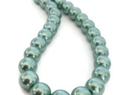 Teal Necklace, Teal Green Necklace, Teal Pearl Necklace, Teal Pearl Jewelry, Light Green Pearl Necklace, Green Necklace, Chunky Pearl