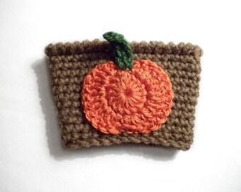 Pumpkin Coffee Cozy, Fall Coffee Sleeve