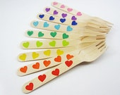 12 Hearts Wooden Forks, Spoons, Knives,  Wooden Utensils, Wooden Cutlery, Wooden Silverware, Kids Party, Rainbow