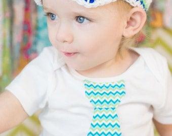 Baby boy tie onepiece bodysuit and crochet hat set, chevron, blue, green, Easter, Spring/Summer, baby shower gift, photo prop, birthday set