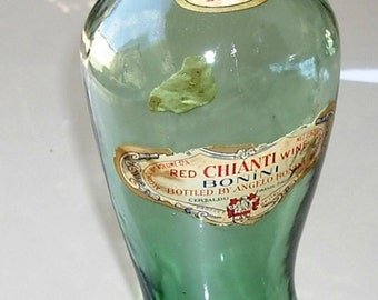 Vintage Glass Bottle Barware, Collectible Chianti Green Glass Boot Bottle, 1957 Glass Wine Bottle
