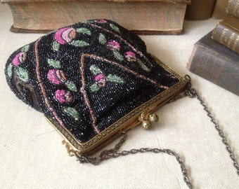 1920s Micro Beaded Purse, Gold Chain, Black and Pastel Floral Evening Bag