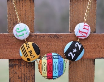 Teacher's Fabric Covered Button Statement Necklace